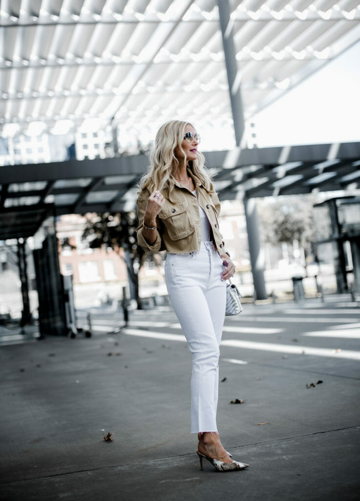 High Rise Ankle Length White Jeans