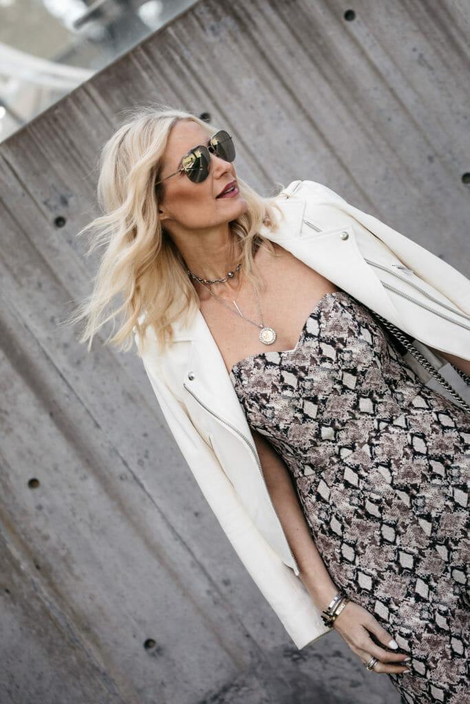 Dallas blogger wearing white Iro leather jacket