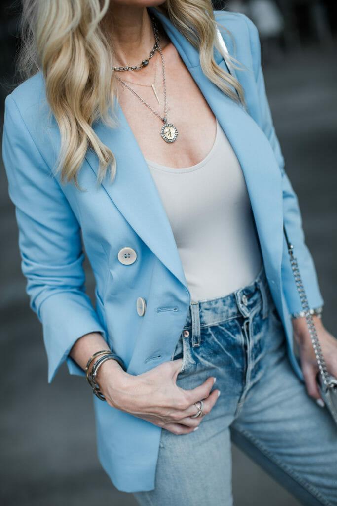 Dallas fashion blogger wearing a Topshop blazer and coin necklace