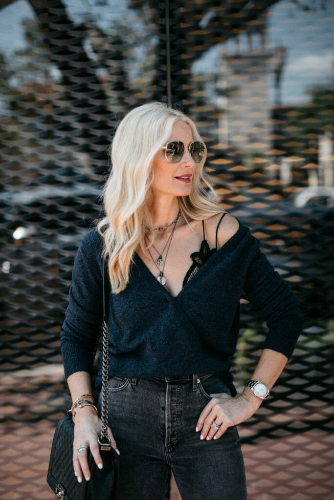 Dallas influencer wearing a blue Madewell wrap sweater