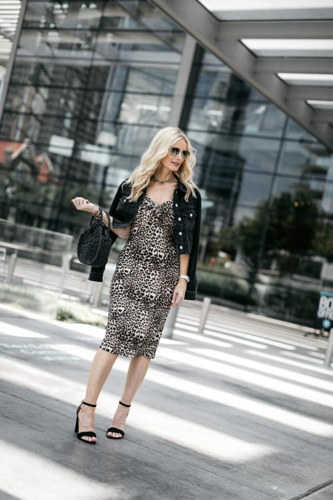 How to wear leopard midi dress over age 40