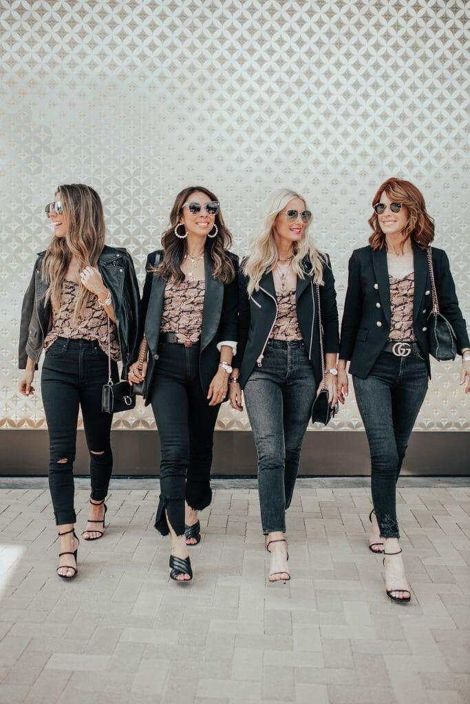 Dallas influencers wearing black skinny jeans