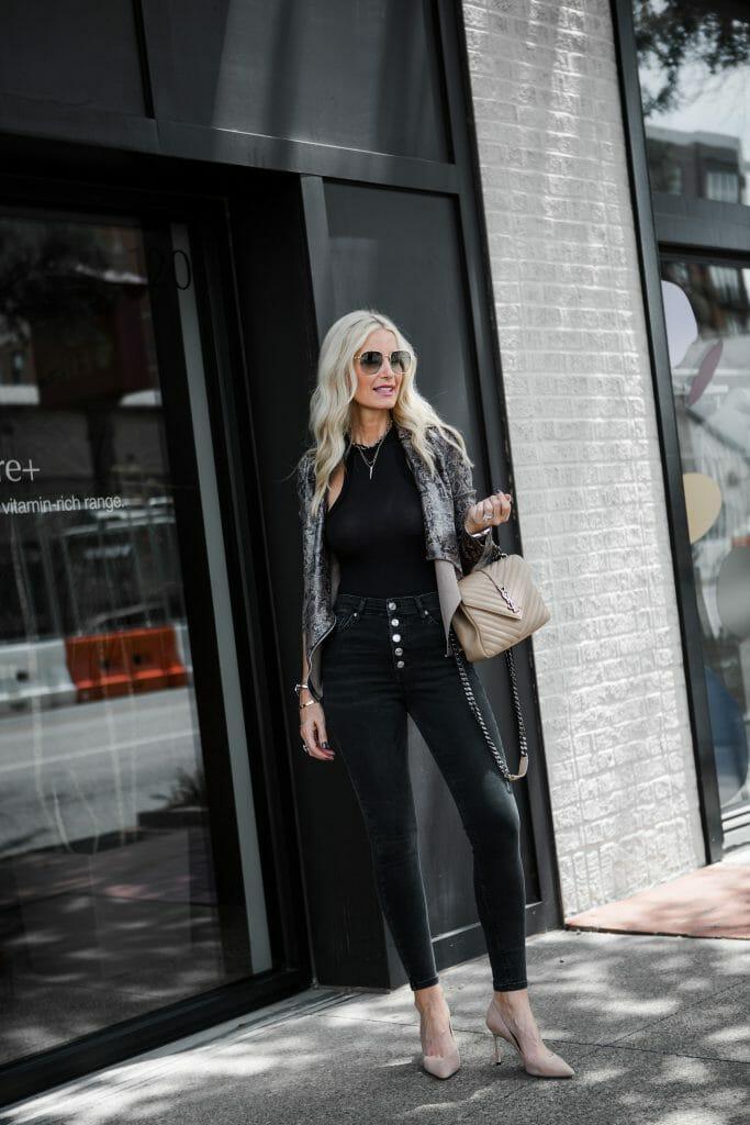 Dallas blonde woman wearing Topshop skinny jeans and Jimmy Choo nude heels