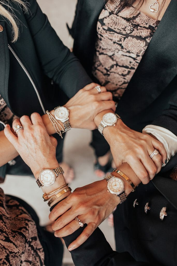 Dallas bloggers wearing Michele watches at Neiman Marcus