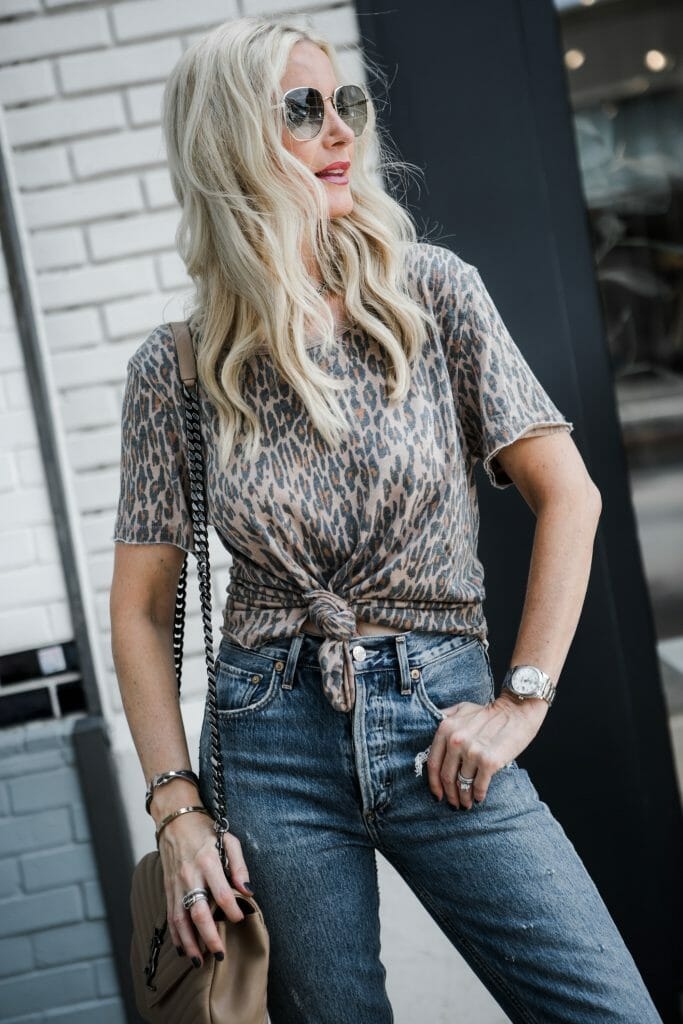 Dallas style blogger wearing a Free People leopard tee shirt