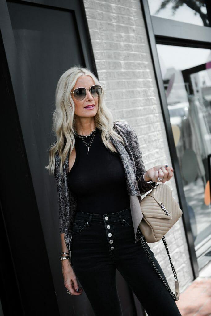 Dallas fashion blogger carrying a Saint Laurent handbag