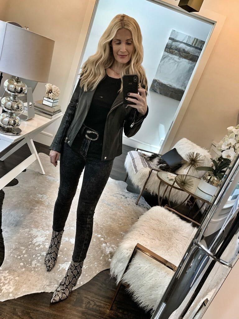 Dallas influencer wearing Frame denim and a black leather jacket