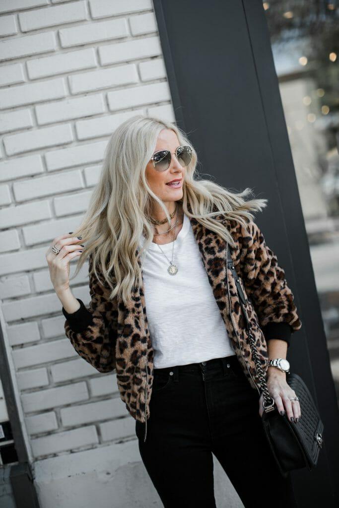 Dallas fashion blogger wearing an animal print jacket