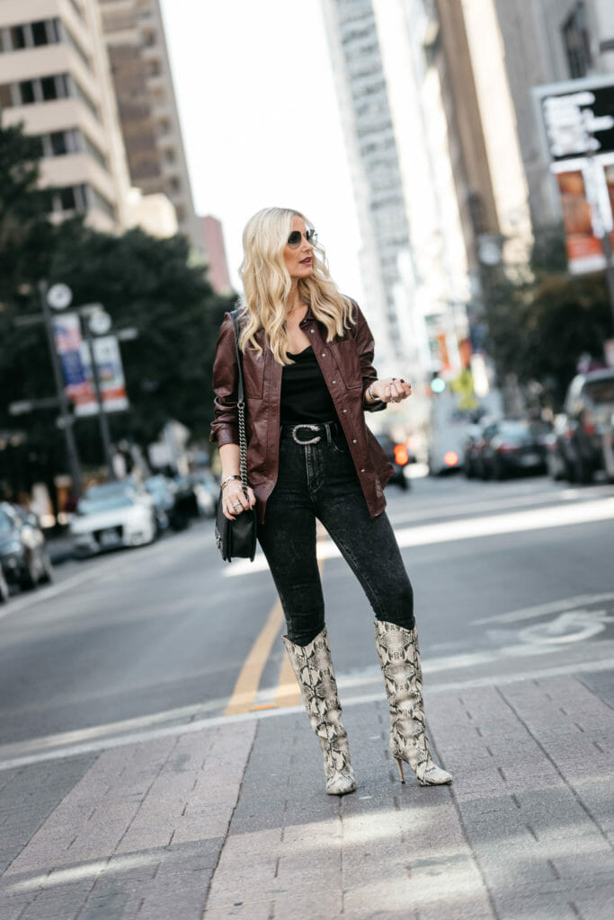 How to style snake print boots over 40