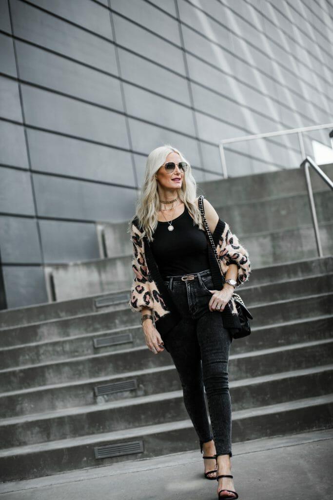 Dallas Blogger Wearing Gucci Belt And Leopard Cardigan