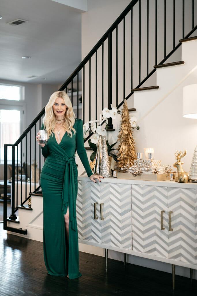 Dallas style blogger wearing a long green dress