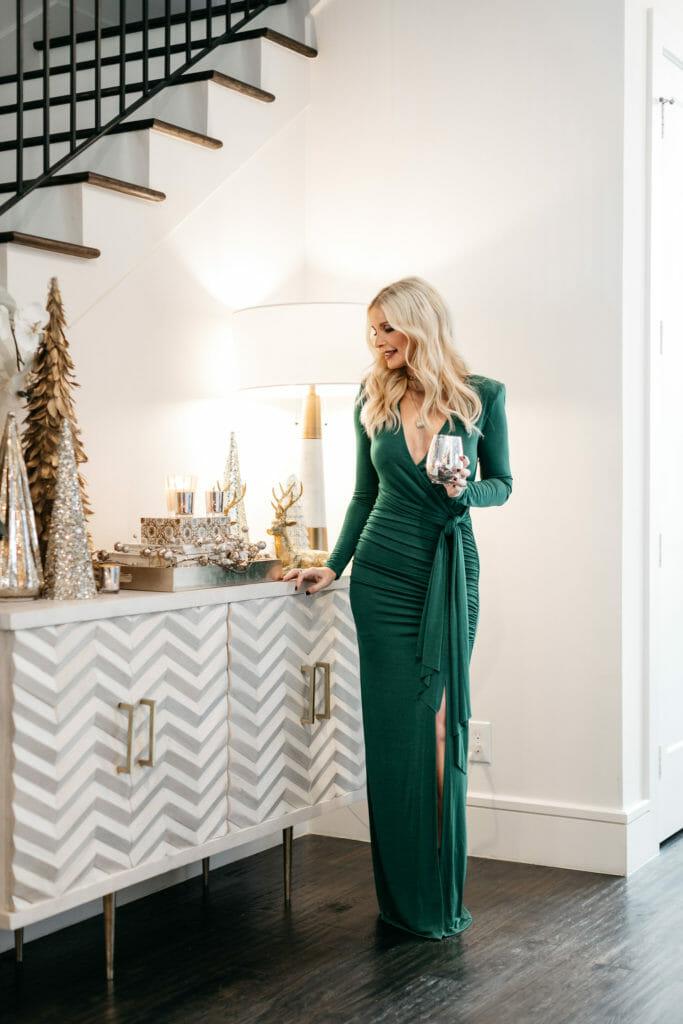 Fashion blogger showing holiday decor