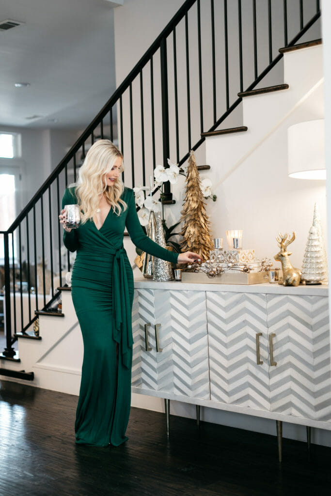 Style blogger displaying holiday home decor