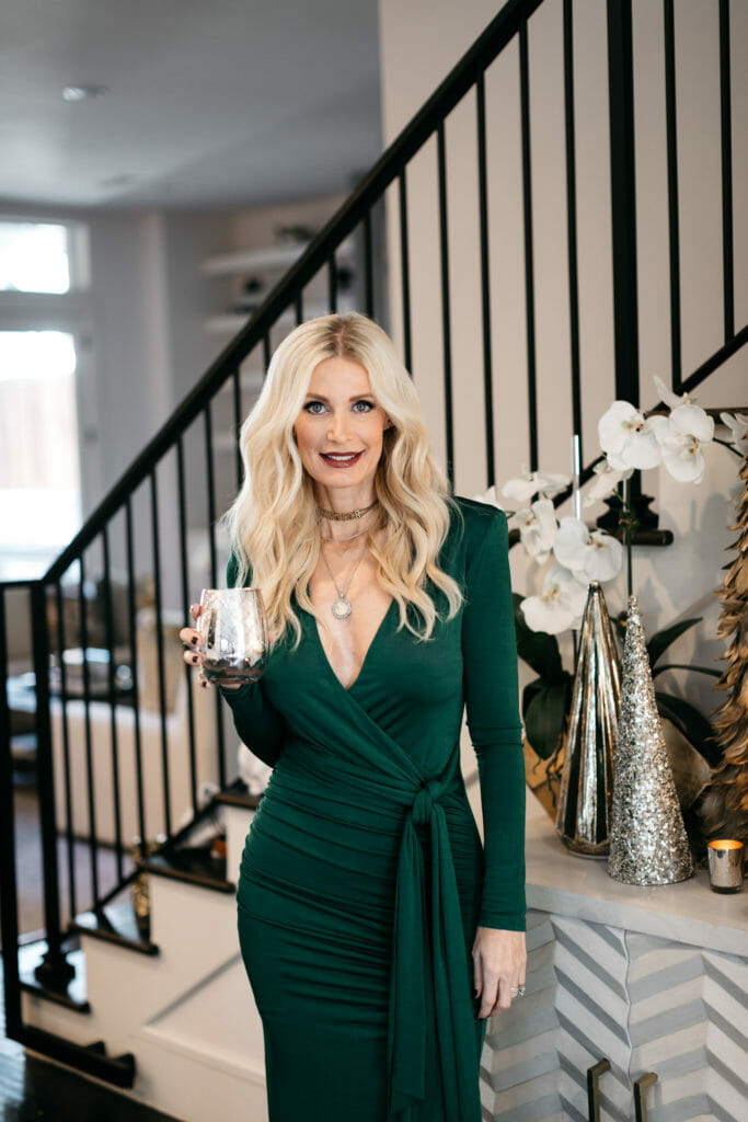 Dallas fashion blogger wearing an evening dress