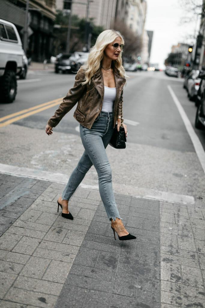 Dallas blogger wearing a moto jacket and heels