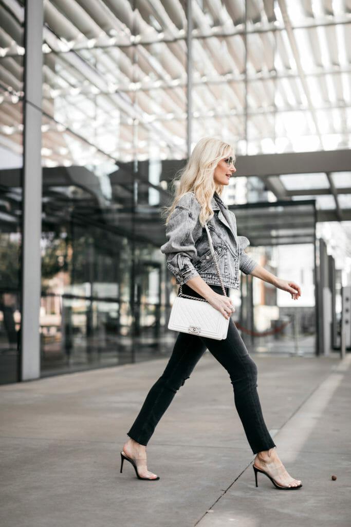 Dallas fashion blogger wearing a gray denim jacket