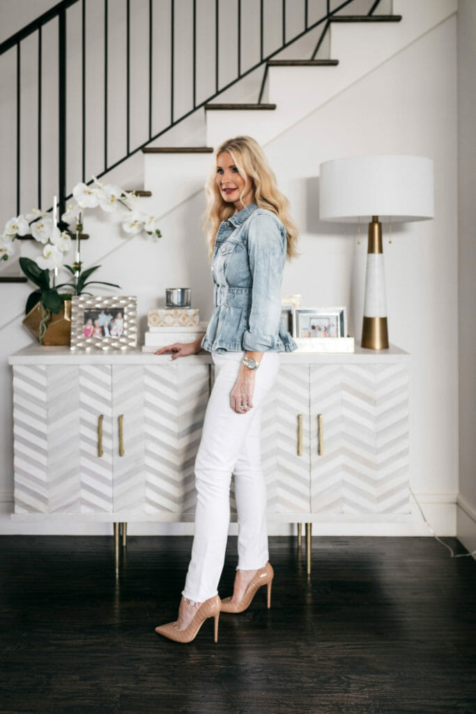 Dallas style blogger wearing white denim and nude heels