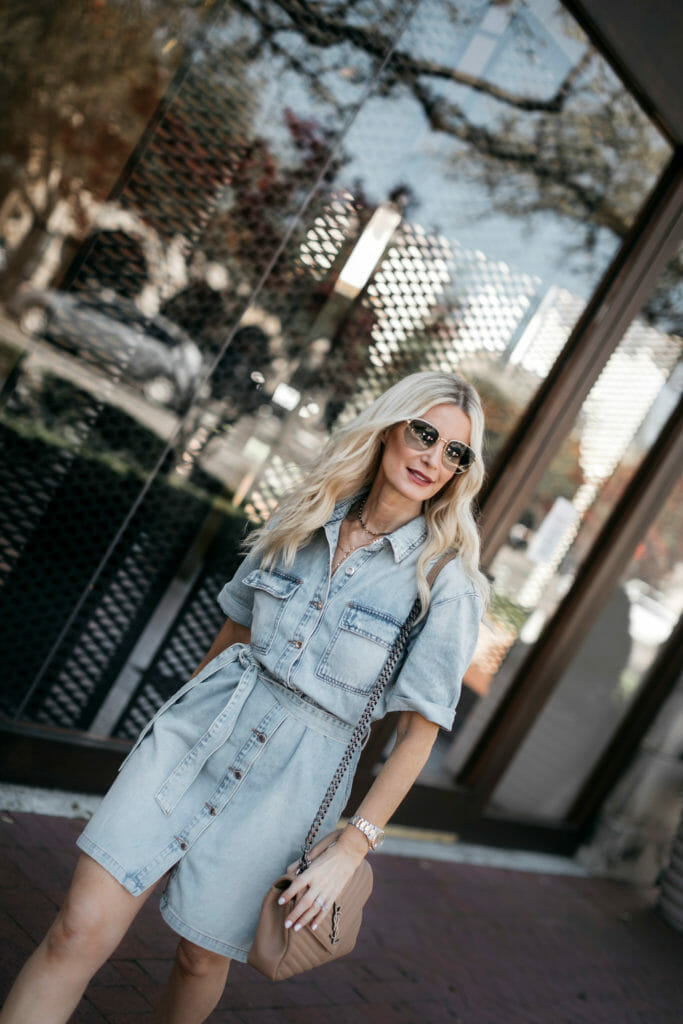 Style blogger wearing a spring dress with sunglasses