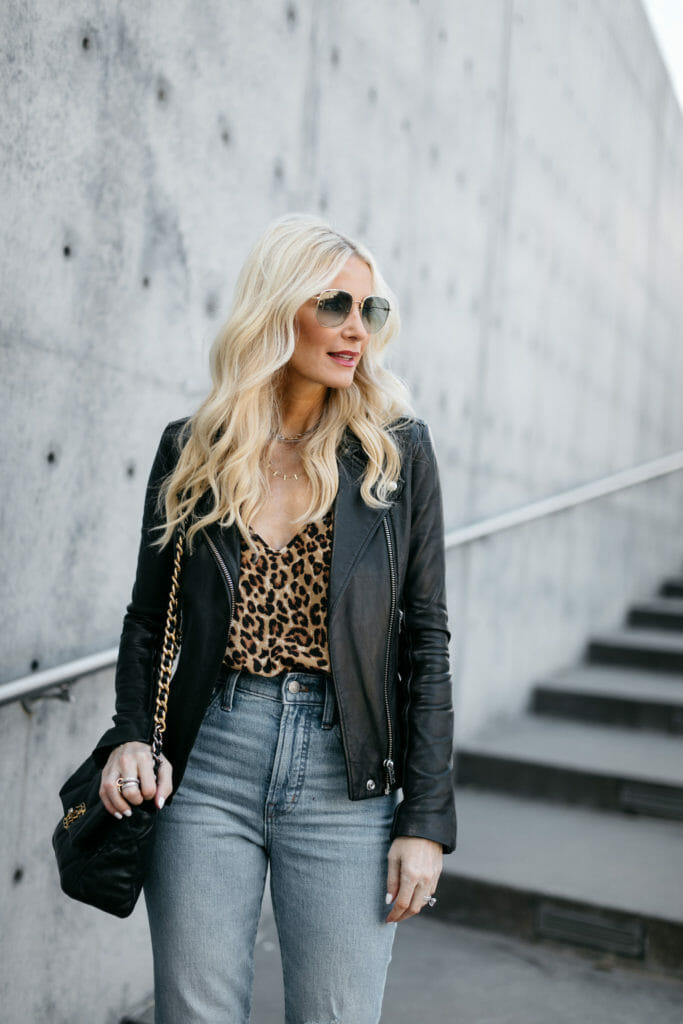 So Heather blog wearing a cheetah print tank and a black leather jacket