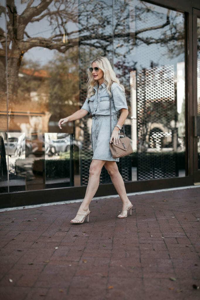 Dallas blogger wearing a denim dress and nude heels