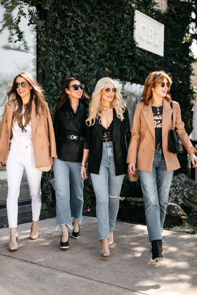 Dallas bloggers wearing oversized blazers and denim