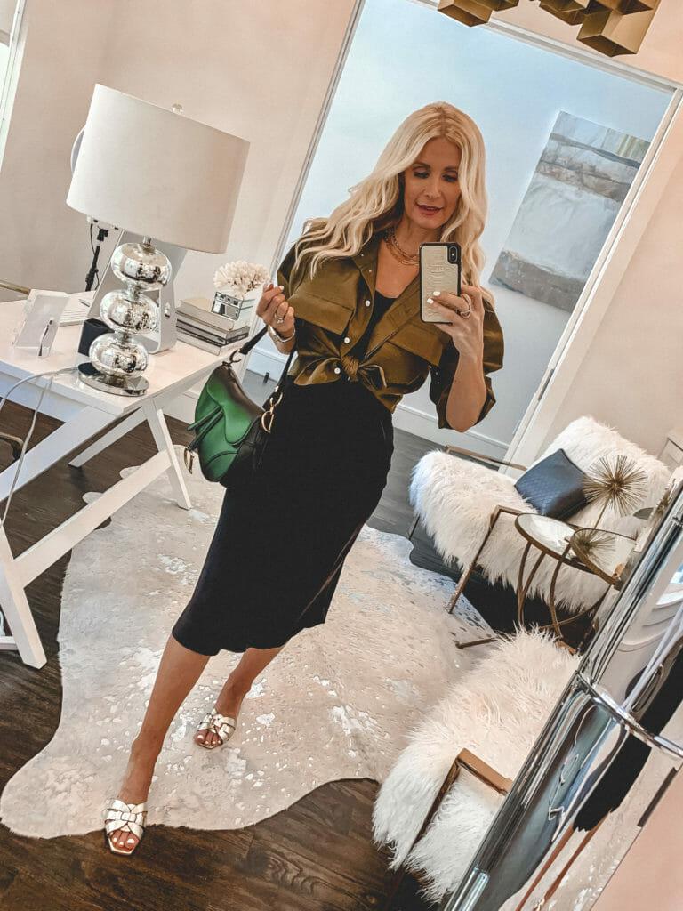 How to wear a black slip dress