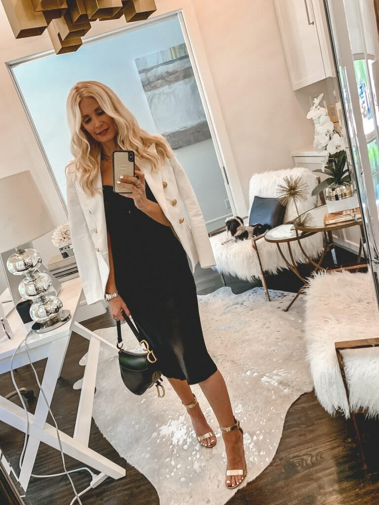 Dallas influencer wearing a Balmain blazer