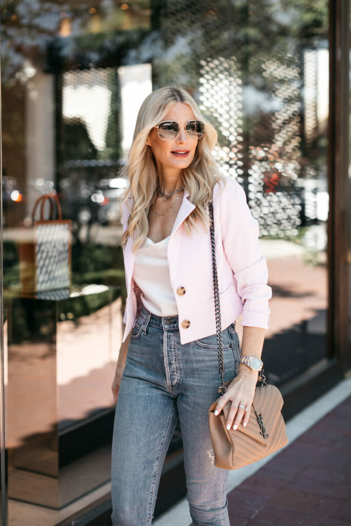 Dallas blogger wearing a pink cropped blazer in the summer with a white bodysuit
