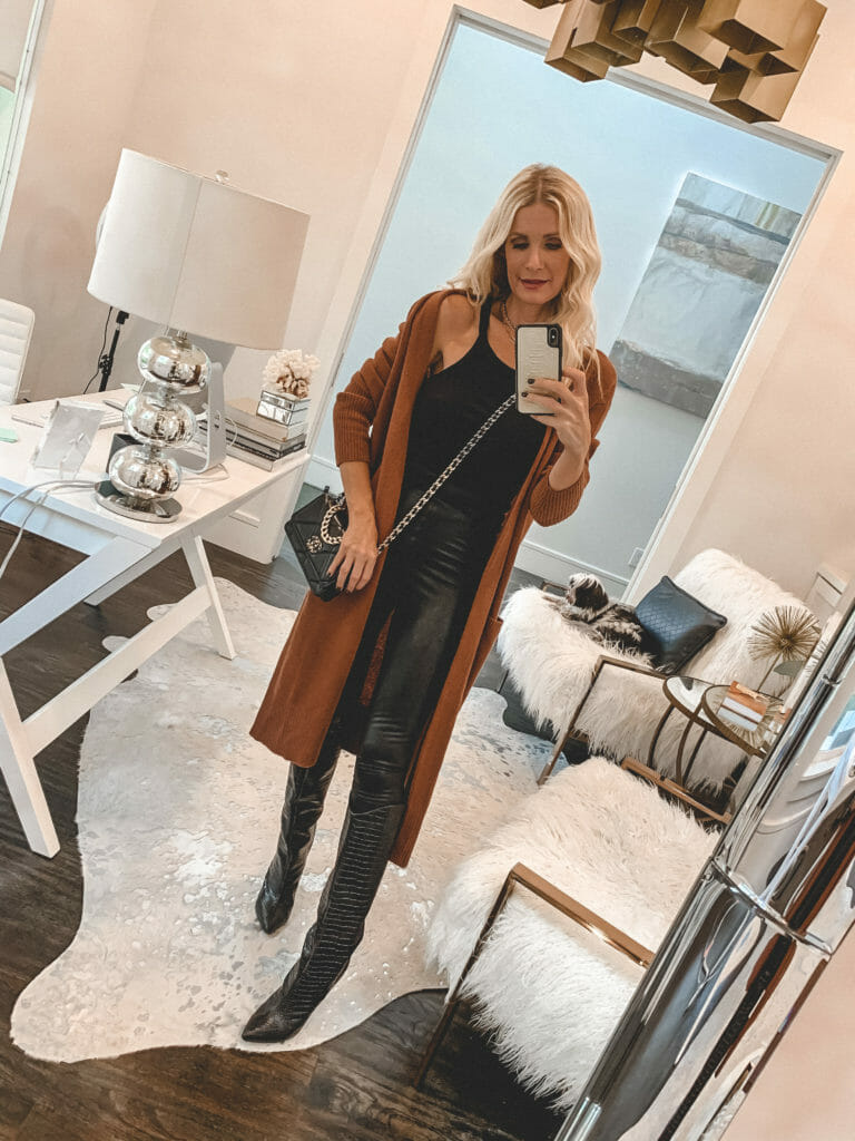 Dallas fashion blogger wearing a rust cardigan and leather leggings
