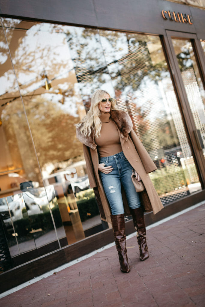 Dallas blogger wearing a winter look with all neutrals and brown boots