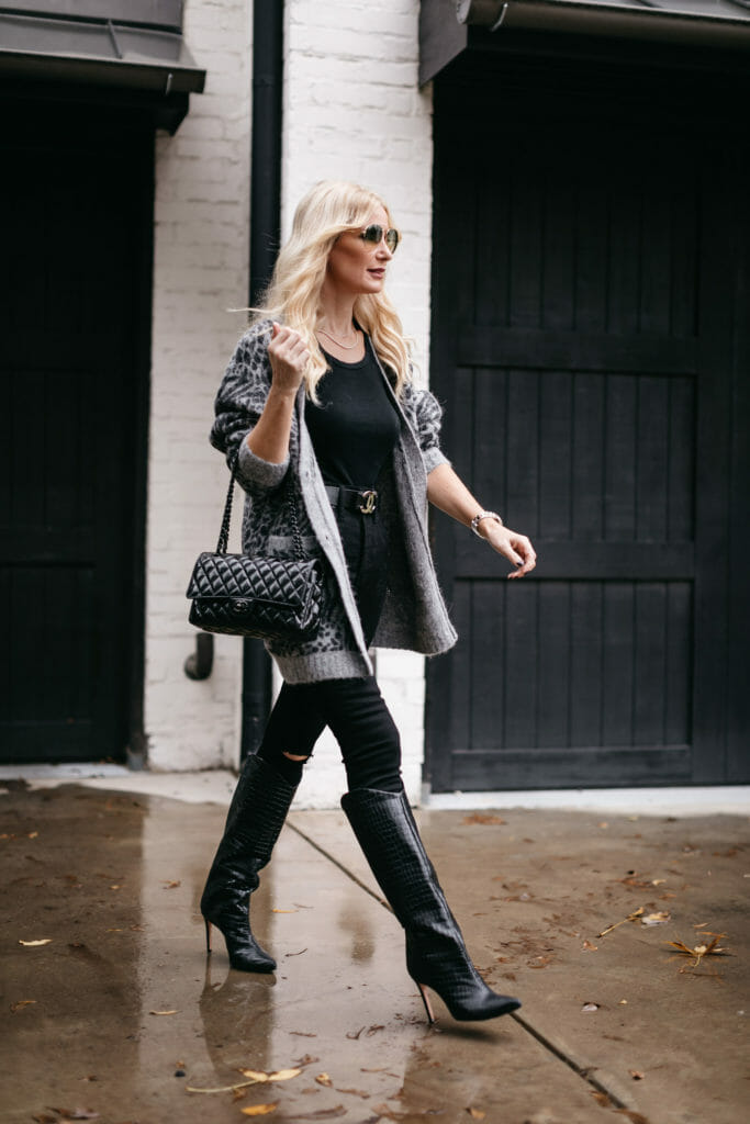 Dallas fashion blogger wearing a grey and black leopard cardigan for fall and winter