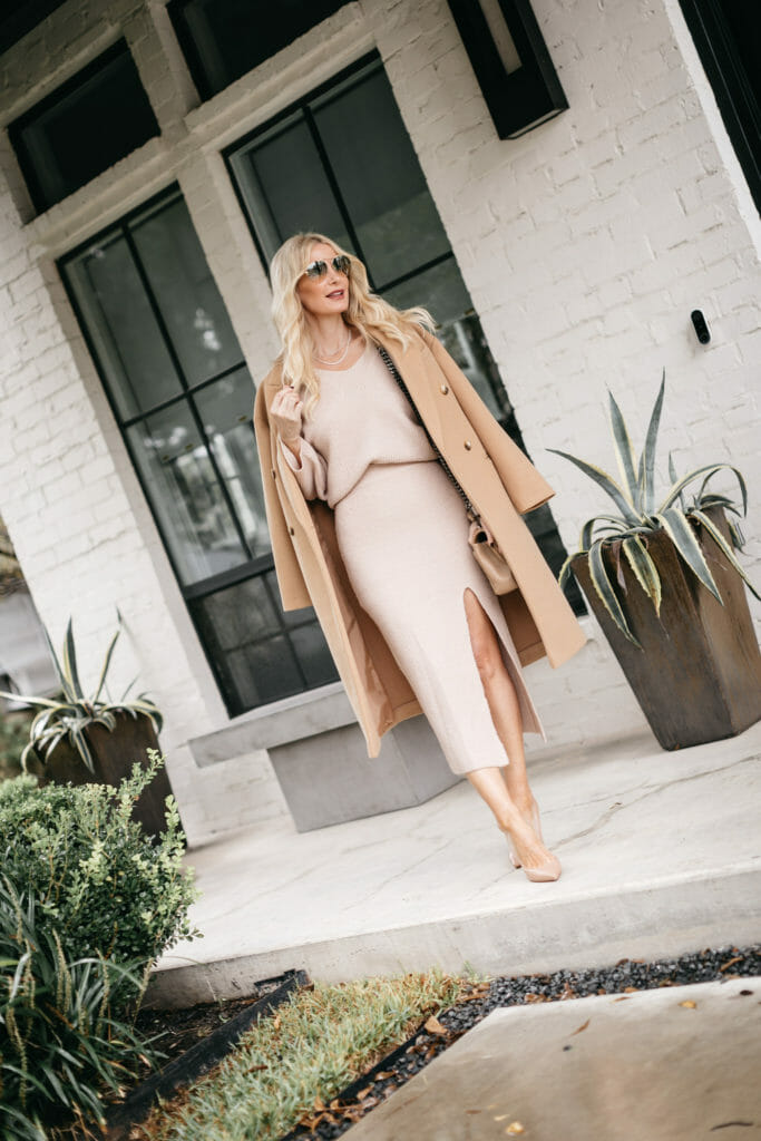 Dallas fashion and style blogger wearing a neutral winter outfit with nude heels