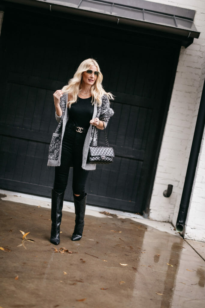 Dallas style blogger wearing a super soft leopard cardigan and black denim for fall