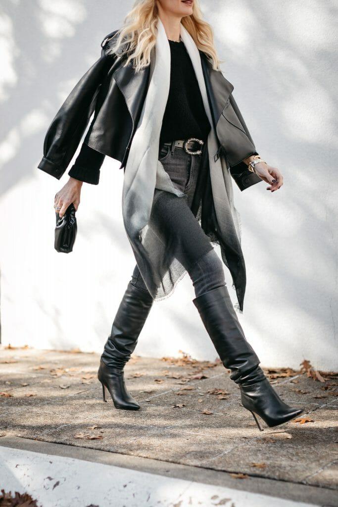 Dallas blogger sharing Rachel Zoe fashion and tall black boots
