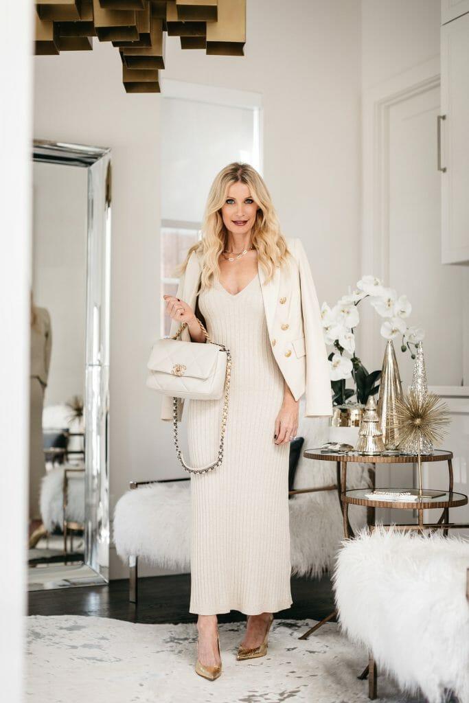 Dallas fashion blogger wearing a white bodycon dress and a white blazer with a white handbag by Chanel