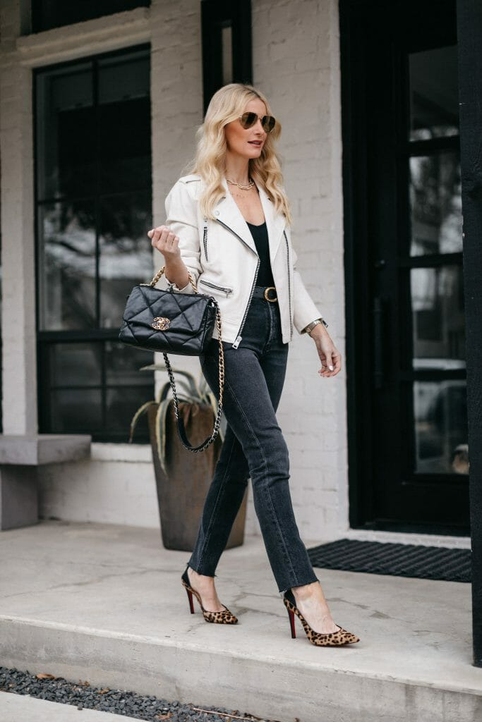 Dallas blogger wearing a faux leather Moto jacket