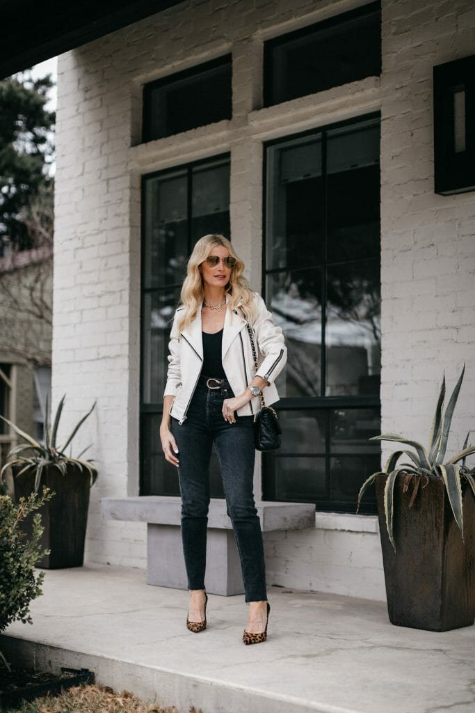 Style blogger So Heather wearing black jeans by Redone and a black bodysuit