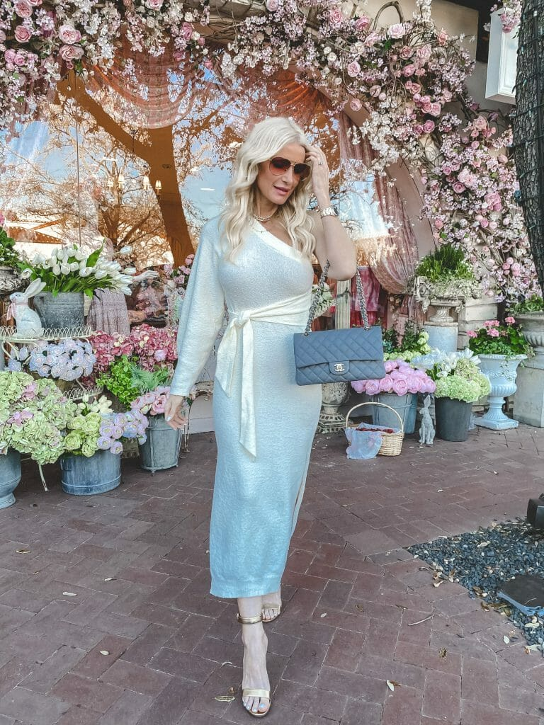 Dallas fashion blogger wearing a cream colored dress for spring