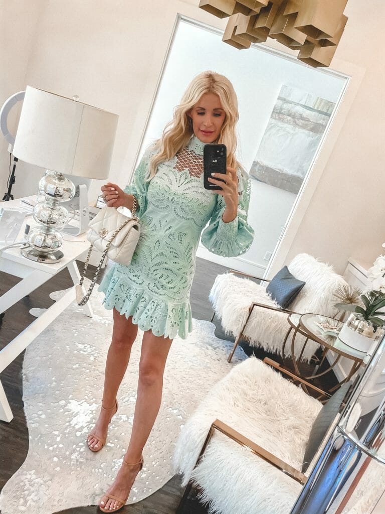 Style blogger So Heather blog wearing a mint green eyelet dress and heels