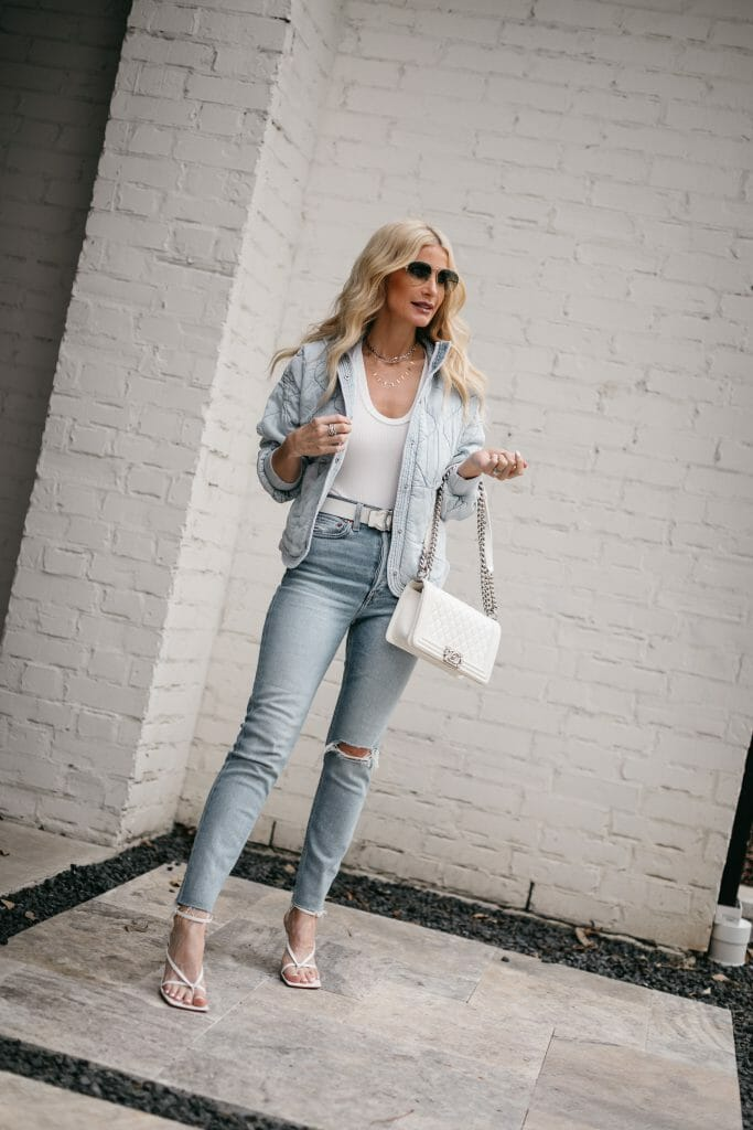 Dallas blogger wearing a white bodysuit and light wash denim for spring and summer