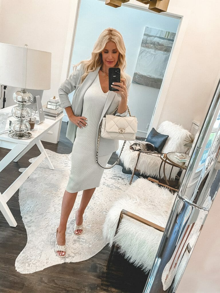 Dallas fashion blogger So Heather blog wearing a light blue midi dress and a light blue blazer