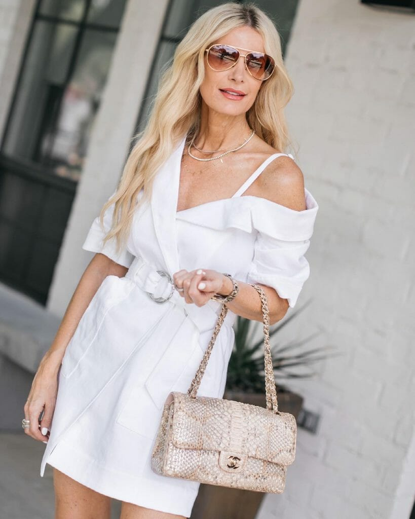 Dallas fashion blogger wearing a white dress for summer