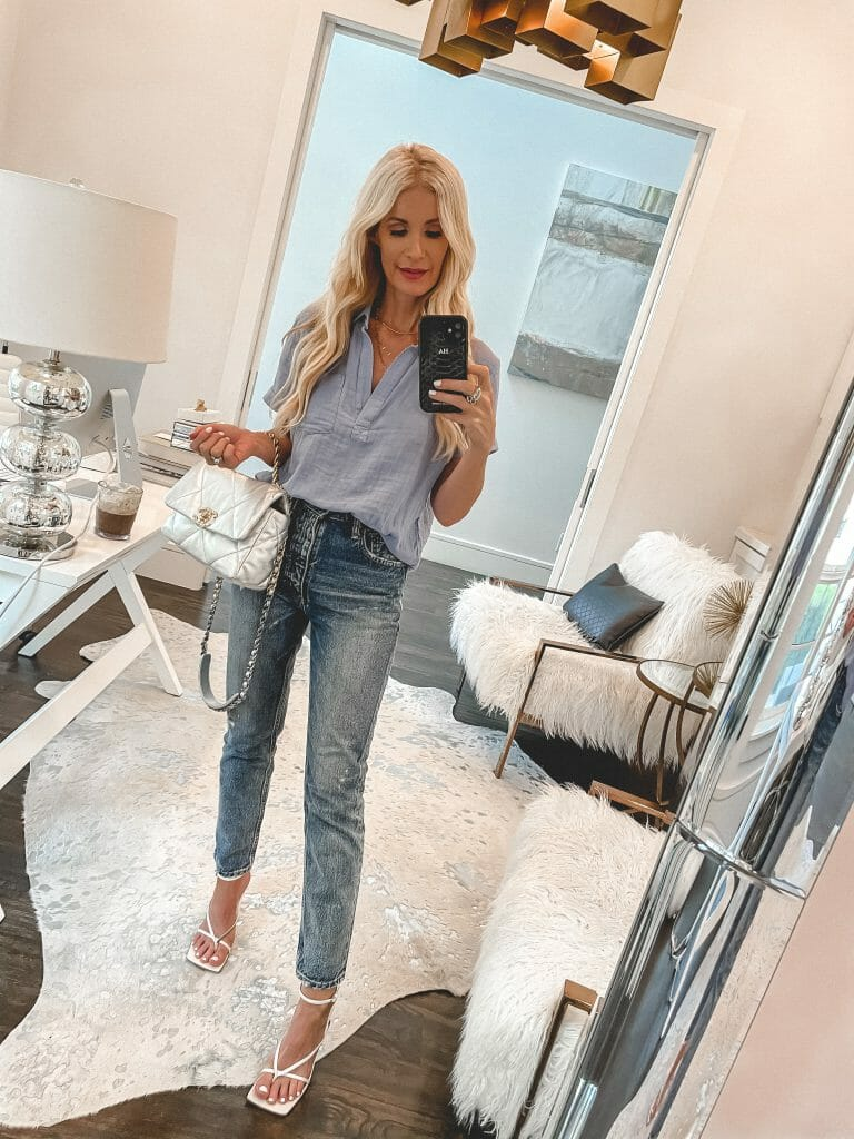 Dallas blogger wearing a half-tucked shirt from Madewell and denim