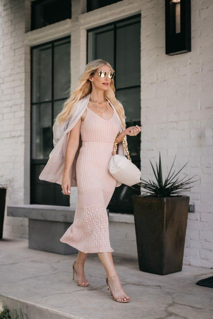 Fashion blogger wearing a pink knit set from Walmart