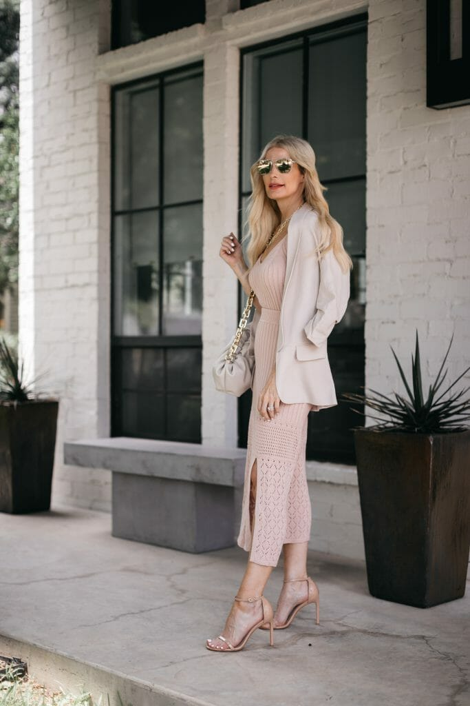 So Heather Blog wearing a knit tank and skirt paired with a blazer from Walmart for summer