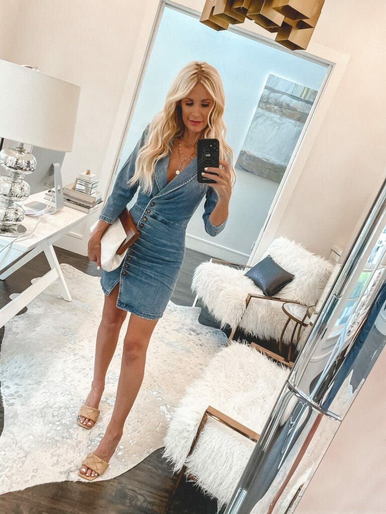 Dallas Fashion Blogger wearing a denim dress and neutral sandals for summer