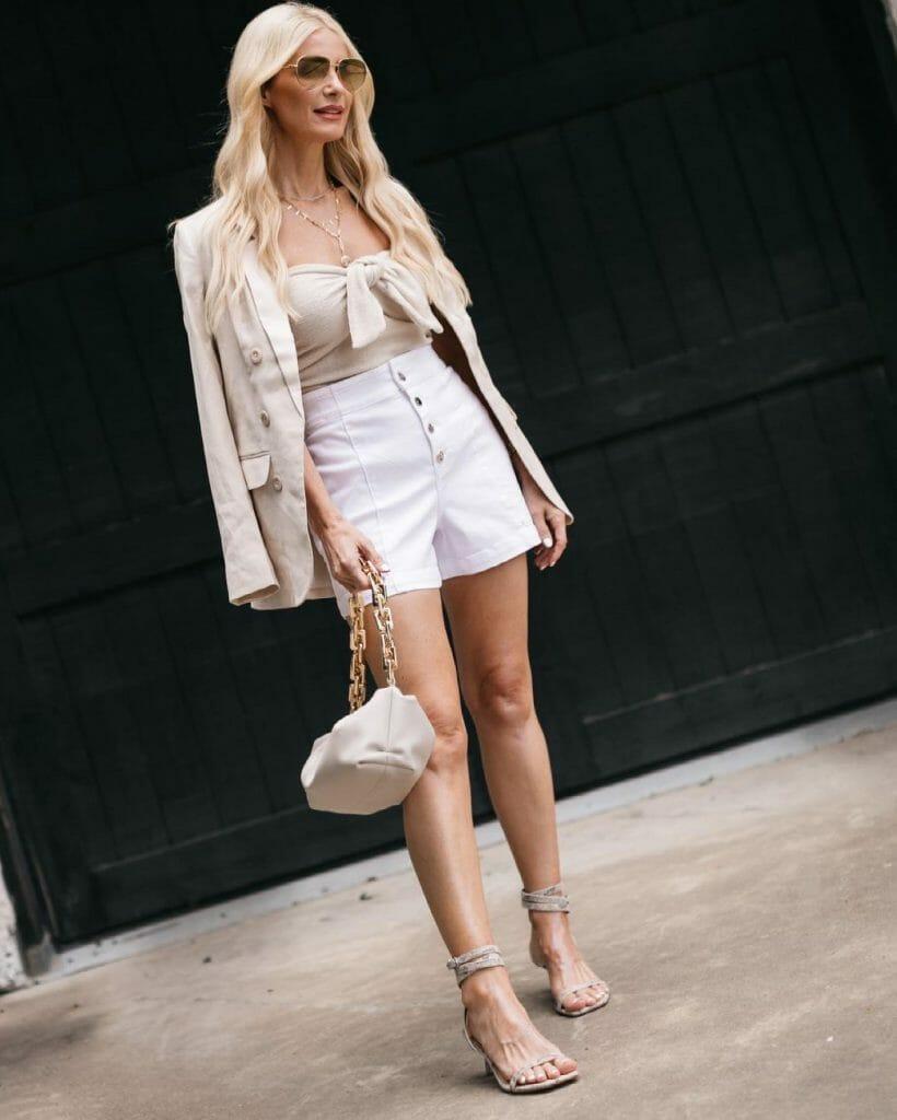 Dallas fashion blogger wearing white shorts and a neutral blazer